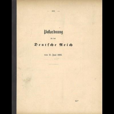 Postordnung für das Deutsche Reich vom 11. Juni 1892.