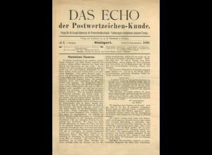 Das Echo der Postwertzeichen-Kunde, Stuttgart 1892.