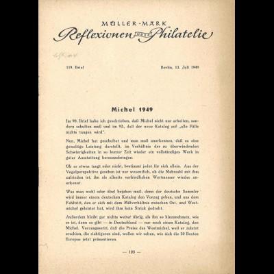 Ewald Müller-Mark, Reflexionen über Philatelie, 74. - 124. Brief, 1945-50.