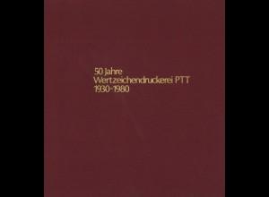 SCHWEIZ: 50 Jahre Wertzeichendruckerei PTT 1930 - 1980.