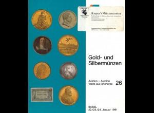 MÜNZEN: Schweizerischer Bankverein, Auktion 26, Basel 22.-24.1.1991