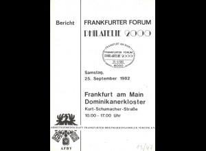 Frankfurter Forum Philatelie 2000: Bericht, Frankfurt 1982.