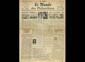 Le Monde des Philatélistes, Paris 1956 - 1963.