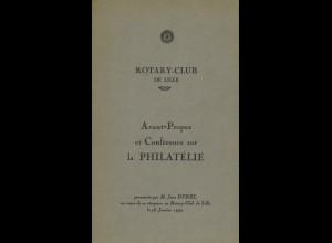 Durel, Jean, Avant-Propos et Conférence sur la Philatélie, Lille 1947.