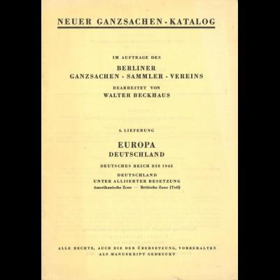 Neuer Ganzsachen-Katalog, 3. und 4. Lieferung, Berlin 1957/59.