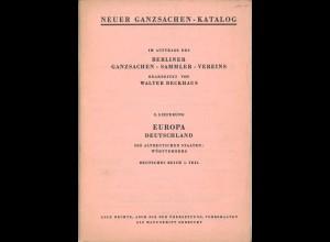Neuer Ganzsachen-Katalog, 3. Lieferung, Berlin 1957.