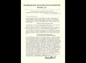 """Hamburger Briefmarkensammler """"BUW"""" e.V. 1958-59"""