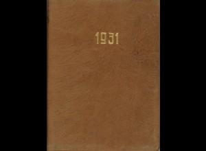 Taschenkalender der Firma J. Reh AG Basaltsteinbrüche, Dillingen, für das Jahr 1931