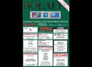 ITALIEN: Bolaffi Catalogo ... Francobolli Italiani, Vol. 1: Italia, Turin 1994.