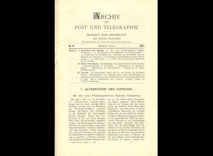 ARCHIV für Post und Telegraphie. Beiheft zum Amtsblatt, Nr. 10/1897