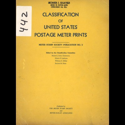 USA: Classification of United States Postage Meters Prints (1951)