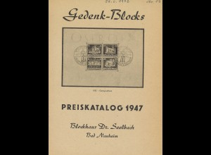 Dr. Seelbach: Gedenk-Blocks. Preiskatalog 1947