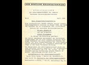Bewertung der Poststempel der Dt. Schutzgebiete und Auslandspostämter (1968)