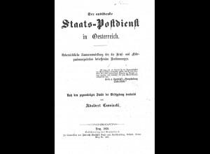 Adalbert Cassinelli:Der ausübernde Staats-Postdienst in Österreich (1860)