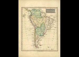 1830: BRASILIEN/SÜDAMERIKA - handcolorierte Karte