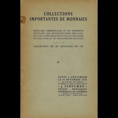 J. Schulman: Collections Importantes de Monnaies, Auktionskatalog 16.11.1925