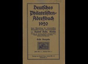 Rudolf Rohr: Deutsches Philatelisten-Adreßbuch 1920 (1. Ausgabe)