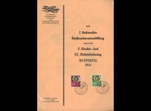 BDPh: 1. Nationale + 5. Bundes- und 52. Philatelistentag in Wuppertal 1951
