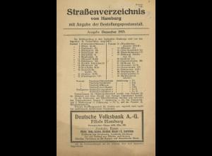 Straßenverzeichnis von Hamburg mit Angabe der Bestellungspostanstalt (1923)