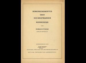 Roman Stoebe: Bemerkenswrtes über die Briefmarken Norwegens (1934)