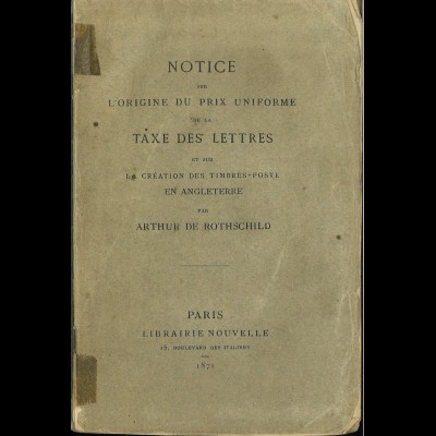 Arthur de RothschildNotice sur L'Origine du Prix Uniforme ... (Broschur)