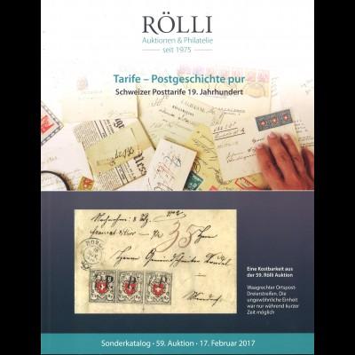 Rölli-Auktion: Tarife - Postgeschichte pur. Schweizer Posttarife 19. Jahrhundert