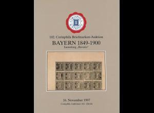 16.7.1997: 102. Corinphila-Auktion: - Bayern 1849-1900. Sammlung Bavaria