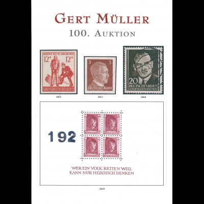 Gert Müller, 100. Auktion, August 2018