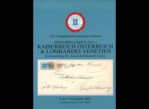 138. Corinphila-Auktion 8.-9.11.2003: Abstempelungen Österreich etc. (Teil 1)